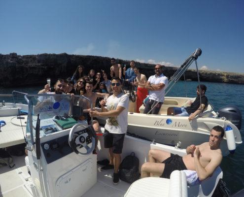Festa in barca a Polignano a Mare